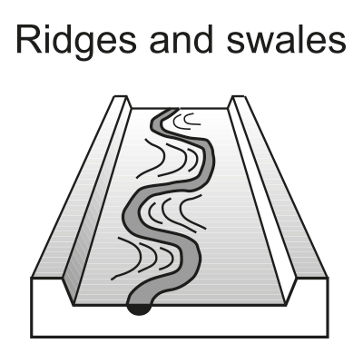 Ridge and swale topography
